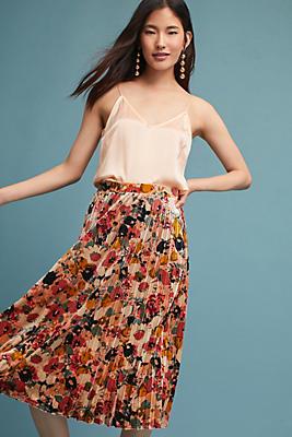 Slide View: 1: Floral Velvet Skirt