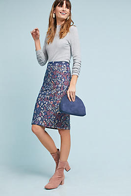 Slide View: 1: Floral Knit Pencil Skirt