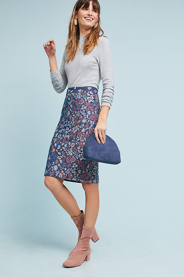 Gertje Floral Pencil Skirt - Blue Motif, Size S