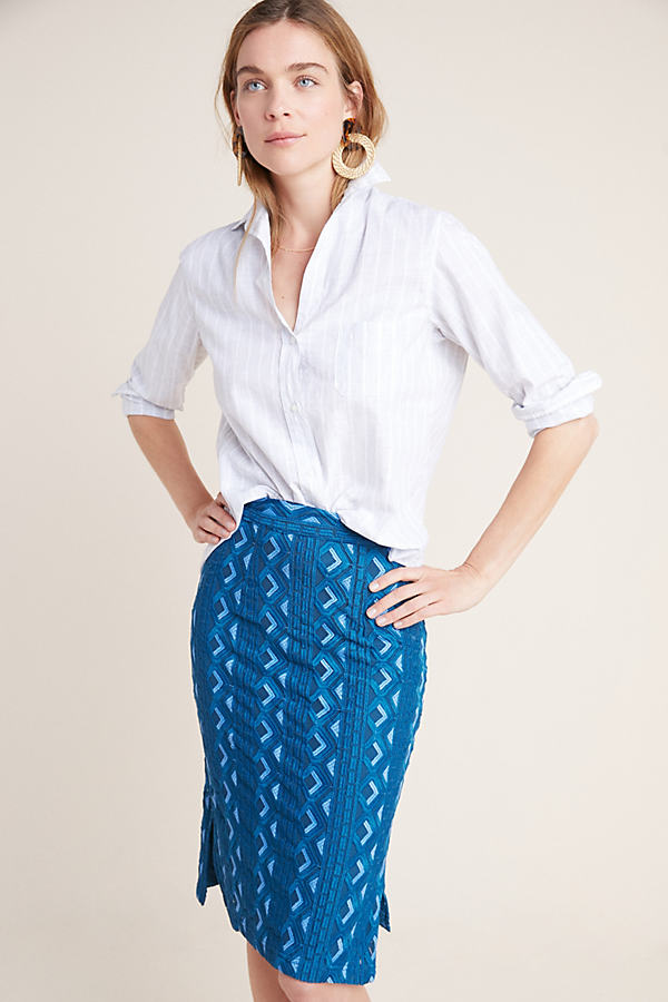 Sienna Embroidered Pencil Skirt - Blue, Size Uk 8