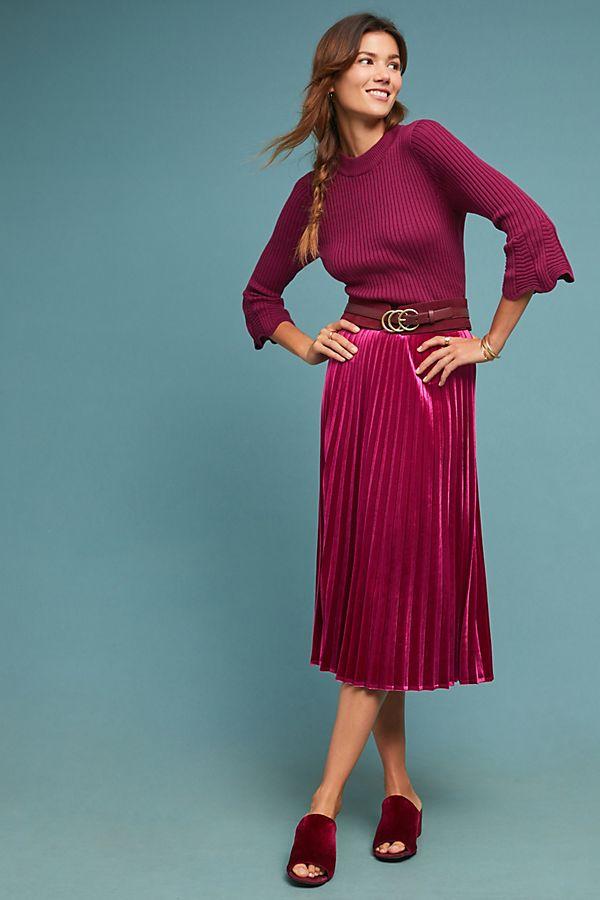 Slide View: 1: Pleated Velvet Skirt