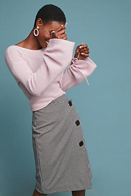 Slide View: 1: Buttoned Houndstooth Skirt