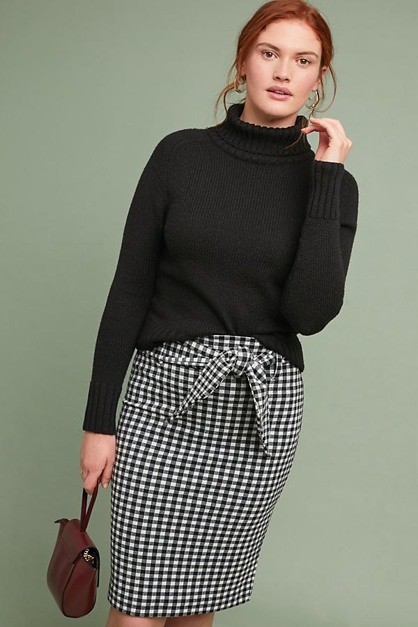 Nagla Gingham-Jacquard Pencil Skirt - Black, Size Xl