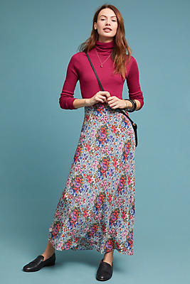 Slide View: 1: Flora Silk Skirt