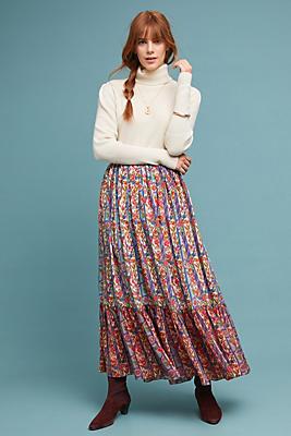 Slide View: 1: Aparna Pleated Silk Skirt