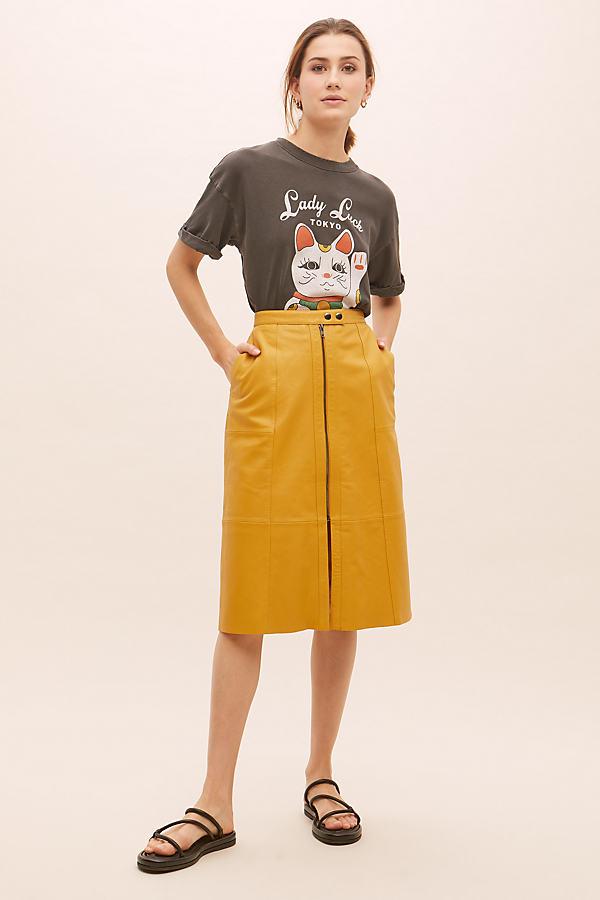 Nancy Leather Midi Skirt