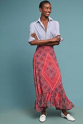 Slide View: 1: Scarf-Printed Maxi Skirt