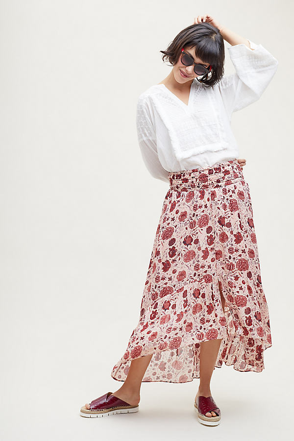 Ines Floral Pleated Skirt - Pink, Size M