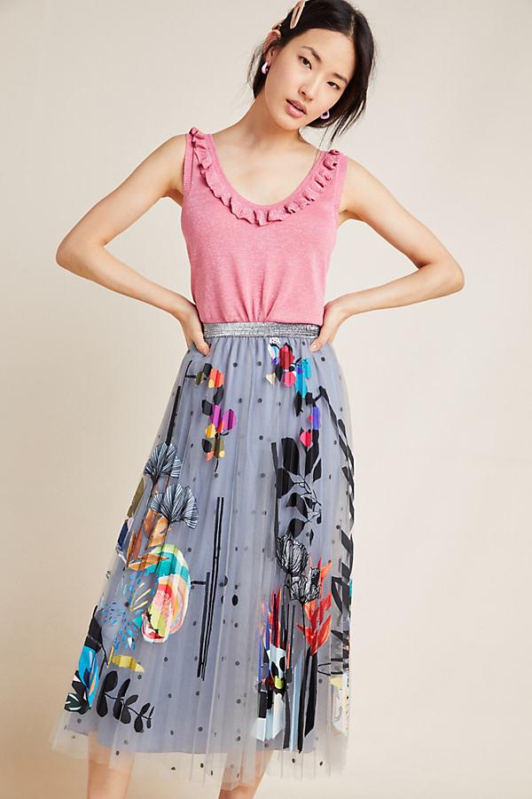 Zara Applique-Tulle Skirt - Grey, Size Xl