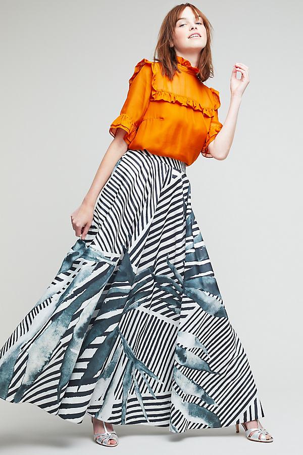 Aspen Printed Maxi Skirt - Black & White, Size S