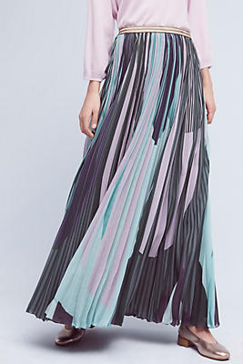 Pleated & Printed Maxi Skirt