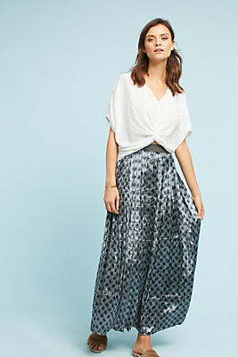 Slide View: 1: Pleated Velvet Maxi Skirt