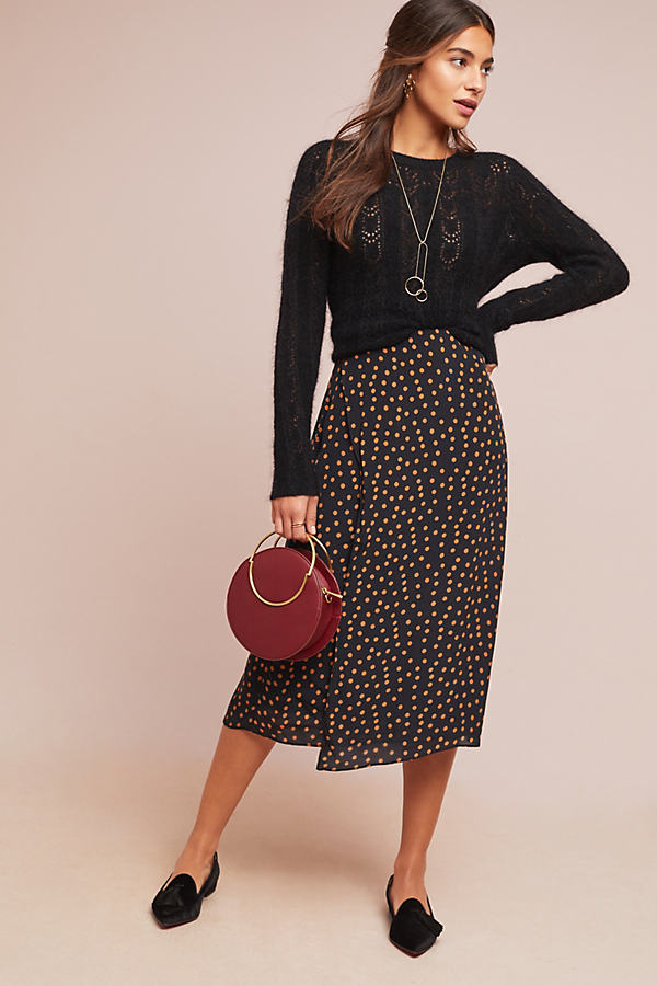 Piped Polka Dot Wrap Midi Skirt - Assorted, Size Uk 6