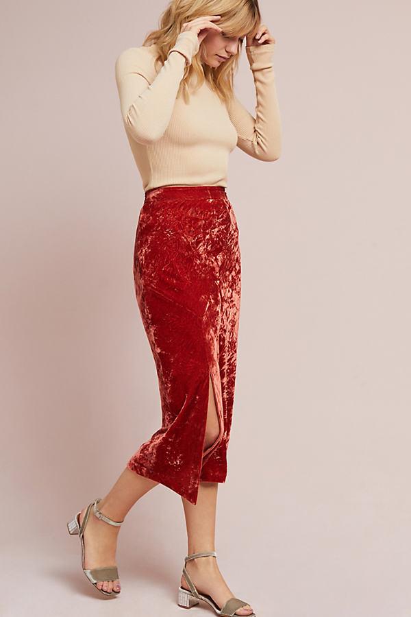 Barkley Velvet Midi Skirt - Pink, Size Uk 6