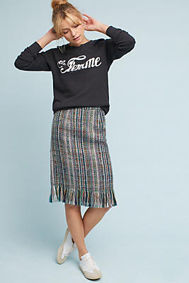 Slide View: 1: Fringed Tweed Pencil Skirt