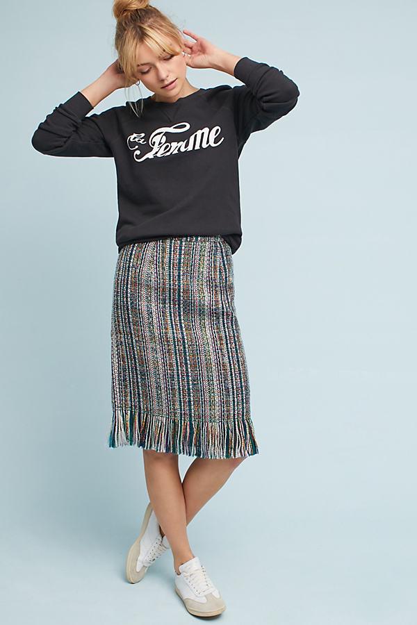 Micia Tweed Pencil Skirt - Green, Size Uk 16