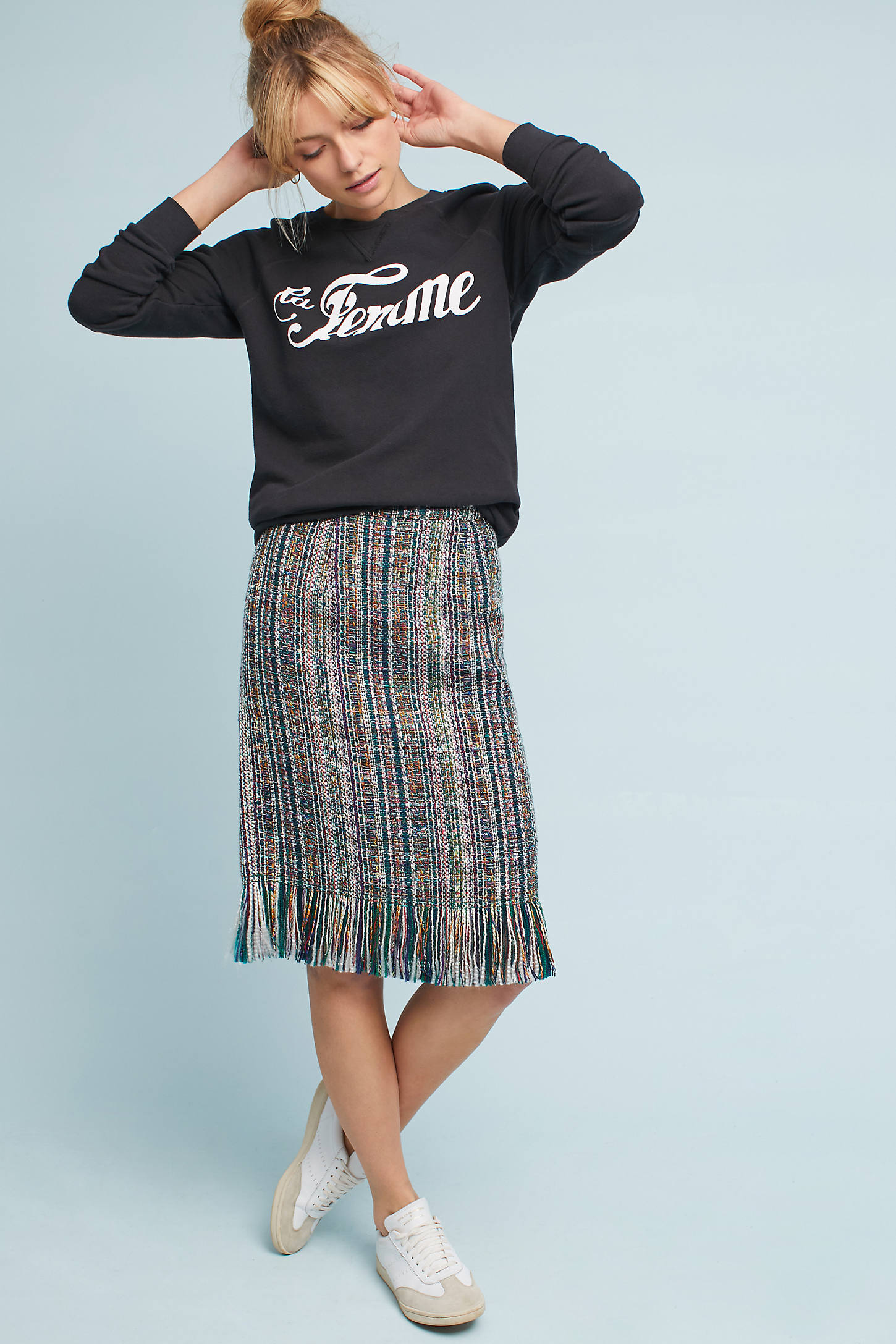 Fringed Tweed Pencil Skirt