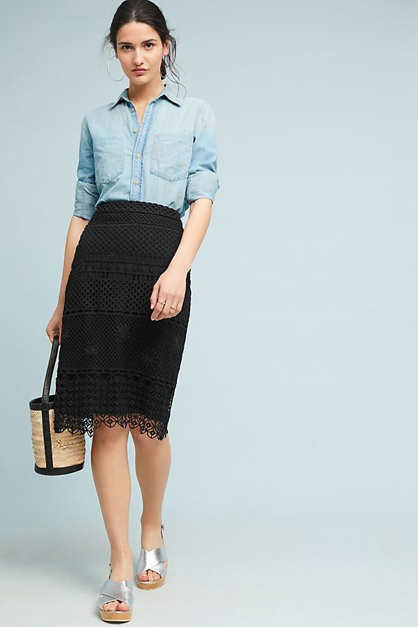 Crocheted Pencil Skirt - Black, Size Uk 8