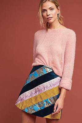 Slide View: 1: Patchwork Stiped Mini Skirt