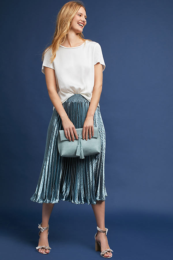 Gemma Pleated Midi Skirt - Carbon, Size S