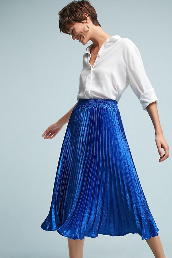 Gemma Pleated Midi Skirt - Sapphire, Size S