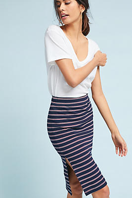 Slide View: 1: Striped Knit Pencil Skirt