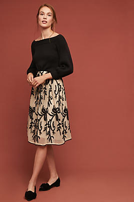 Slide View: 1: Embroidered Tulle Skirt