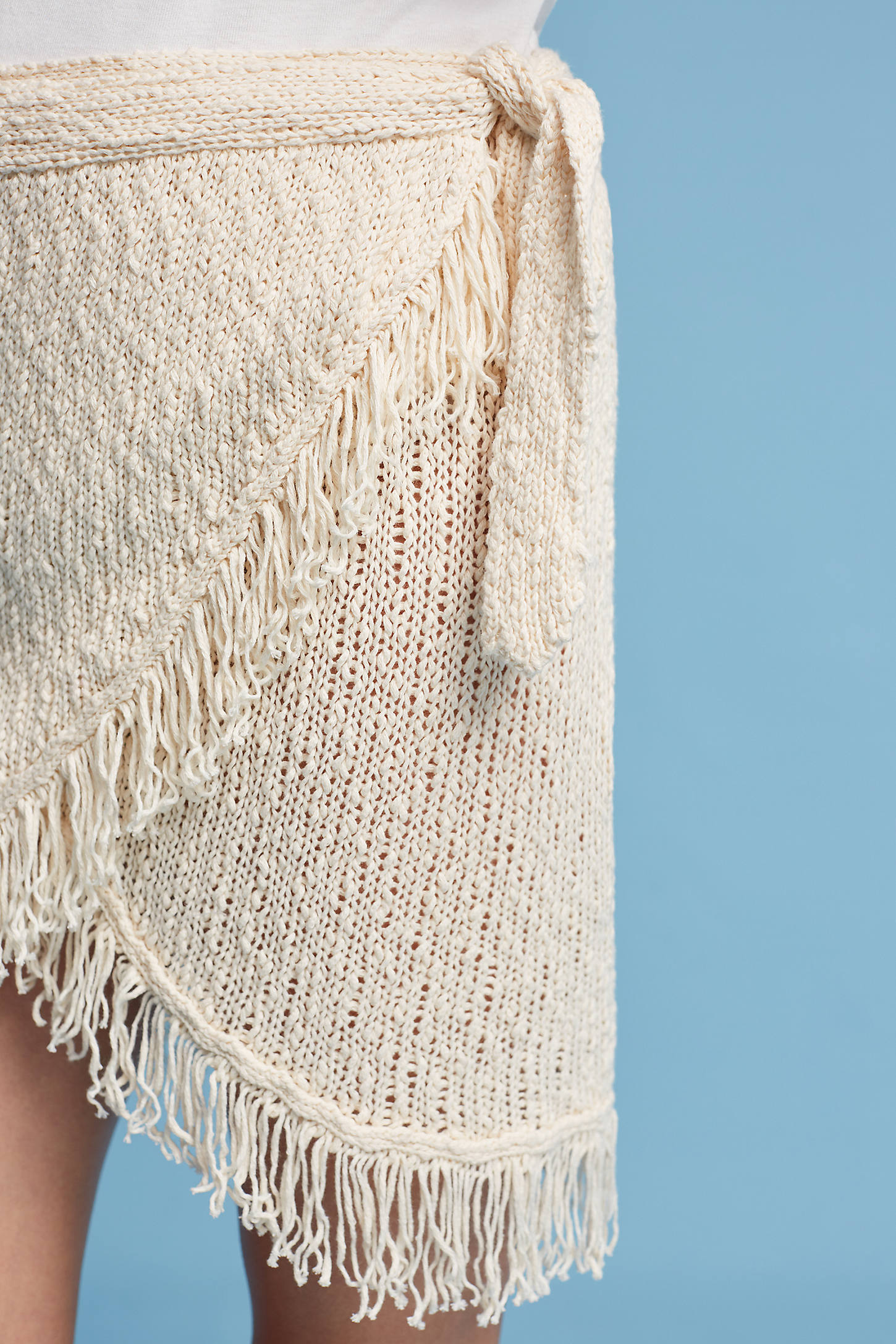 Fringed Wrap Mini Skirt