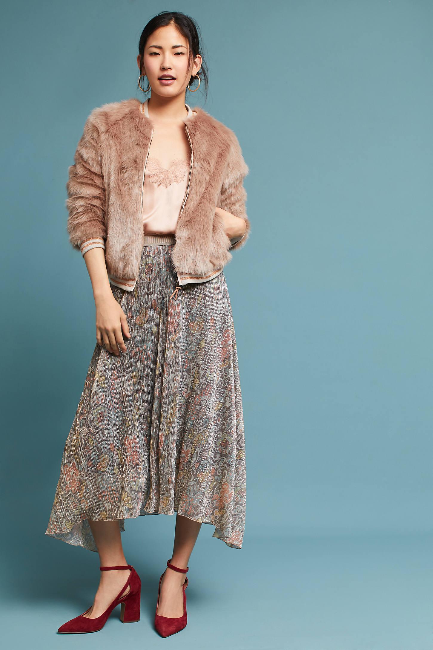 Glimmered Metallic Skirt