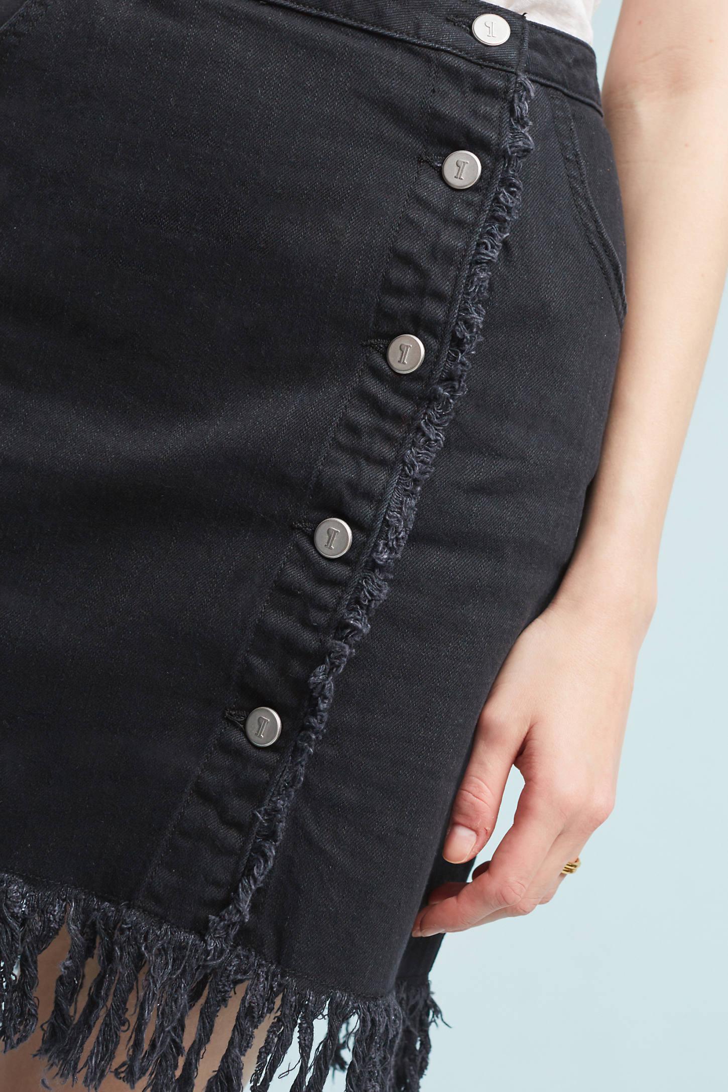 Pilcro Denim Fringe Skirt