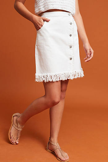 Pilcro Denim Fringe Skirt