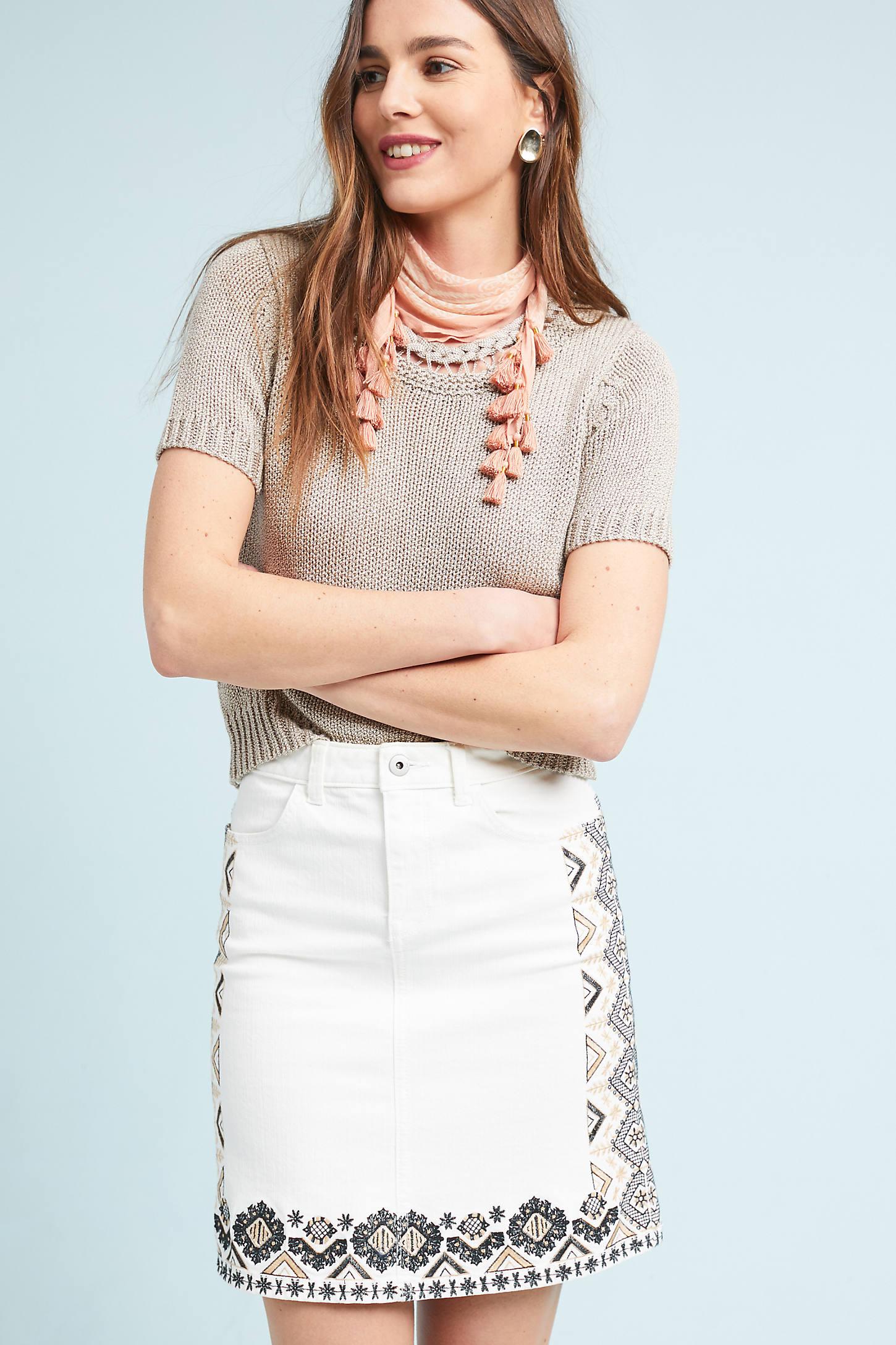 Pilcro Embroidered Denim Mini Skirt