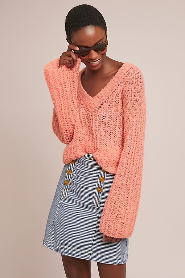 Pilcro Striped Denim Skirt - Assorted, Size Uk 14