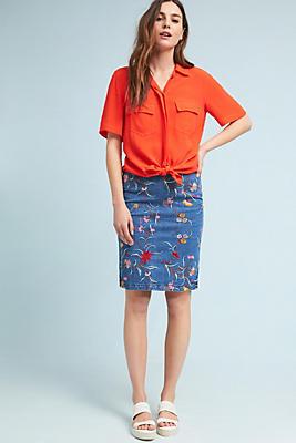 Slide View: 1: Embroidered Denim Pencil Skirt