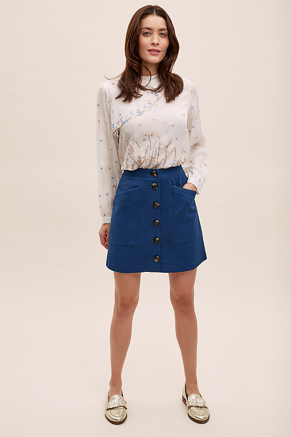 Buttondown Mini Skirt - Blue, Size Uk 10