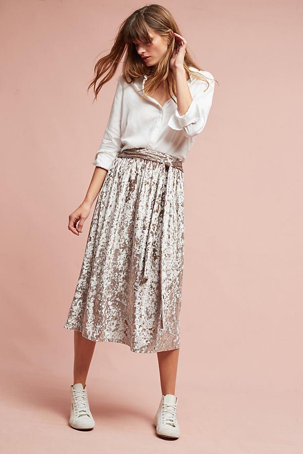 Kadife Velvet Skirt, Silver - Silver, Size Uk 6
