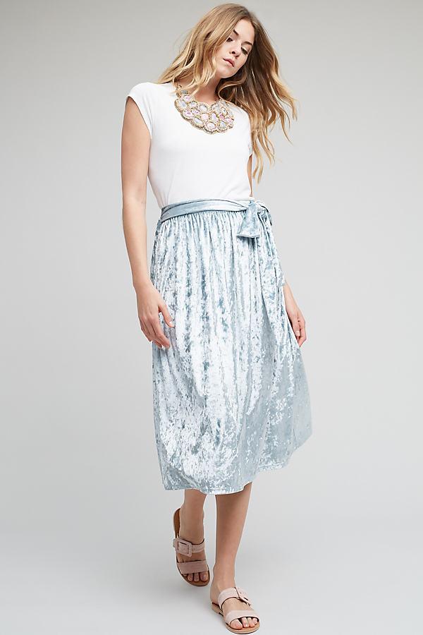 Kadife Velvet Skirt, Silver - Mint, Size Uk 10