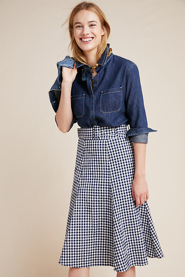 Belted Gingham Midi Skirt - Assorted, Size Uk 14