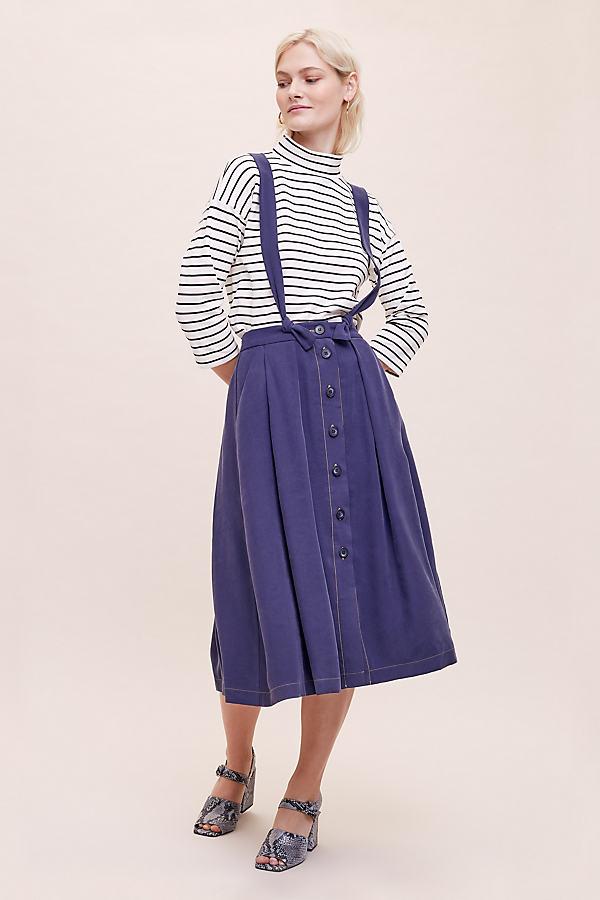 Harlow Pinafore Skirt - Blue, Size Uk 16