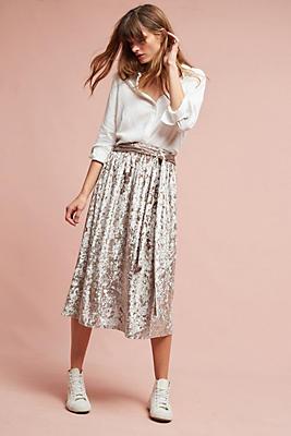 Slide View: 1: Velvet Tie-Waist Midi Skirt
