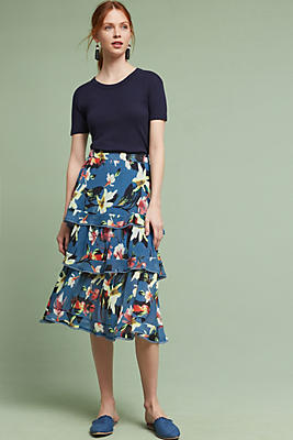 Slide View: 3: Tiered Floral Midi Skirt