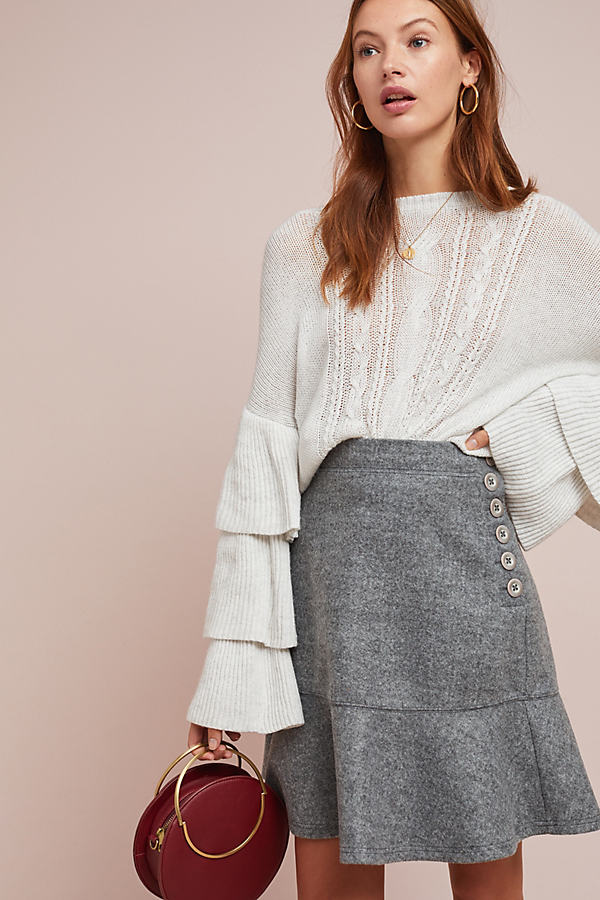 Flounced Yukon Skirt - Grey, Size Uk 8