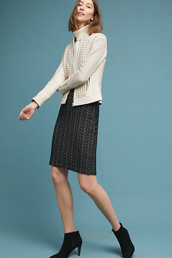 Samantha Knit Pencil Skirt - Black & White, Size L