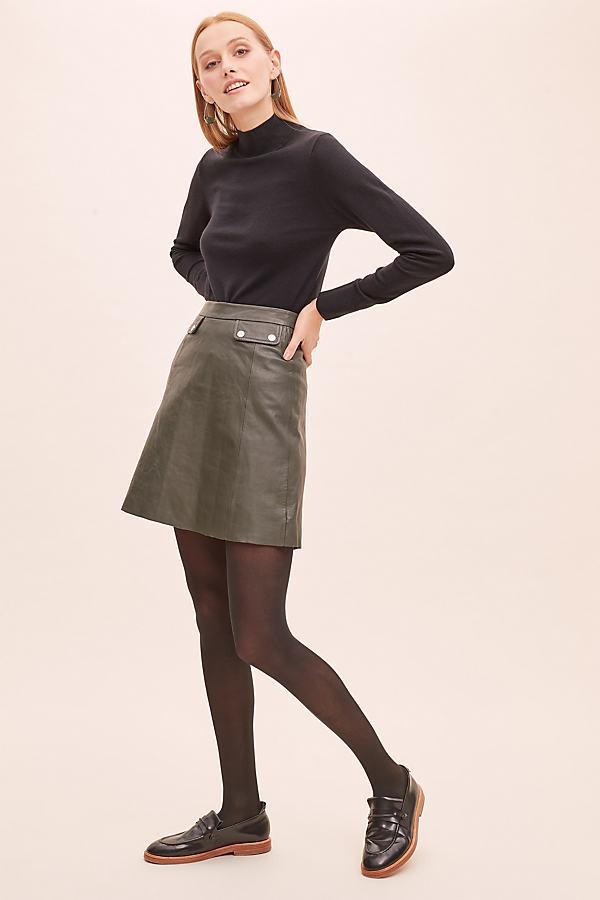 Selected Femme Mina Leather Skirt - Beige, Size Uk 14
