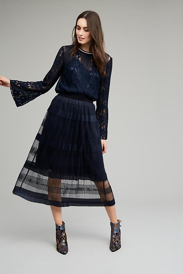 Marissa Mesh Midi Skirt, Navy - Navy, Size M