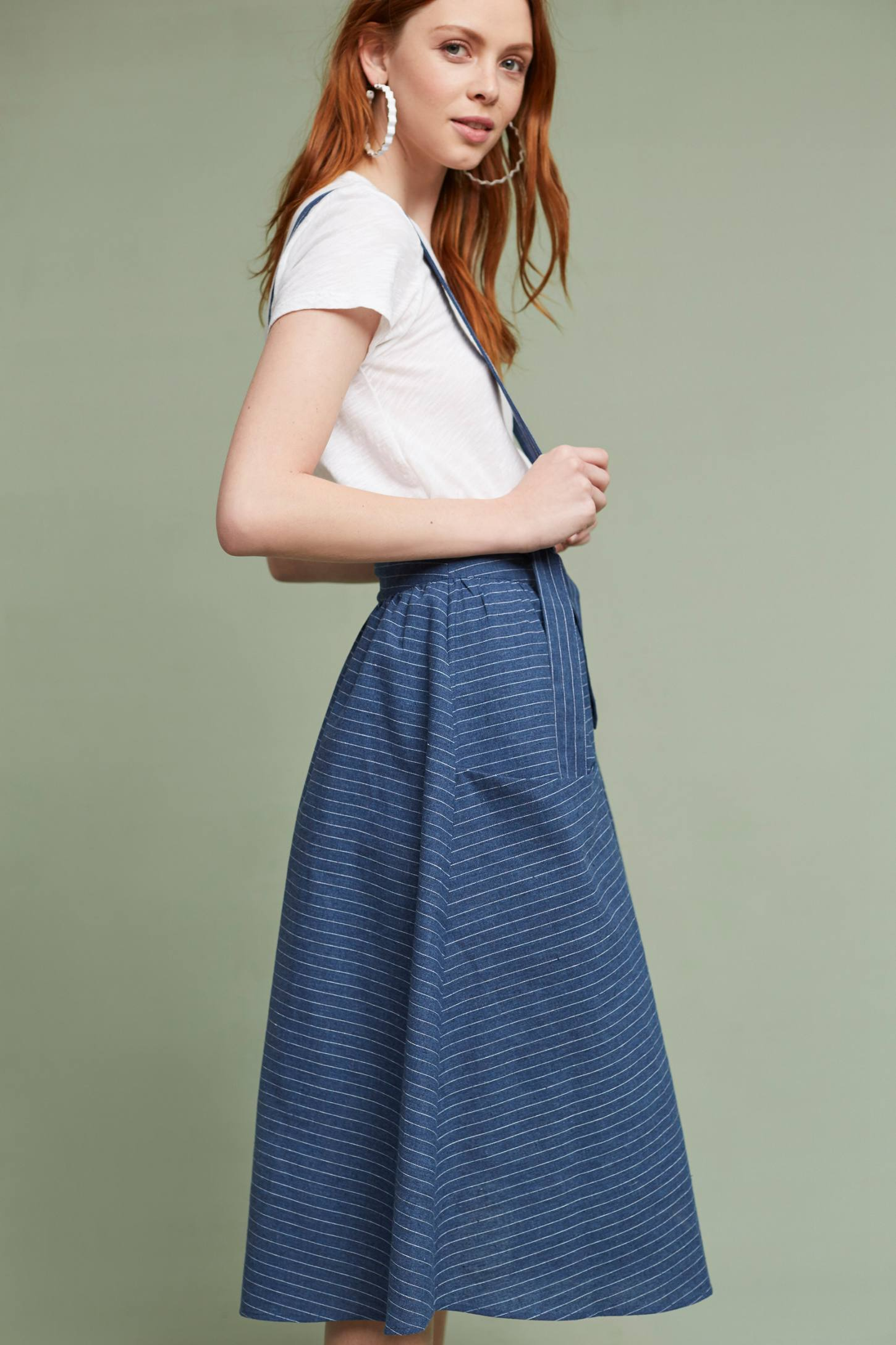 Slide View: 2: Regina Suspender Skirt, Blue