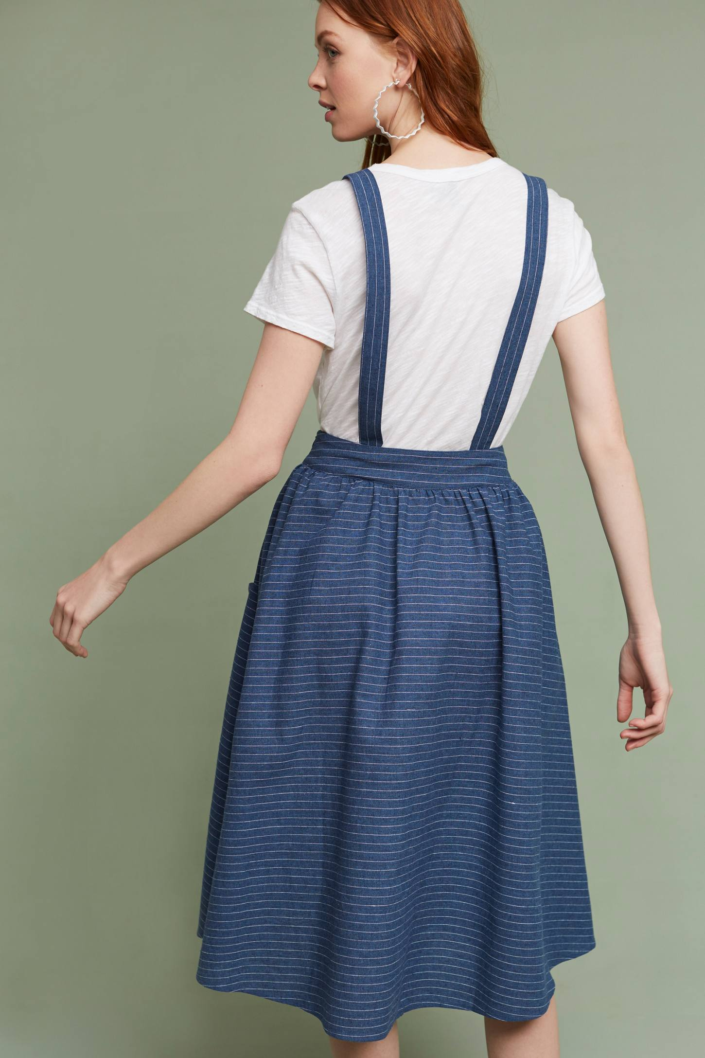 Slide View: 4: Regina Suspender Skirt, Blue