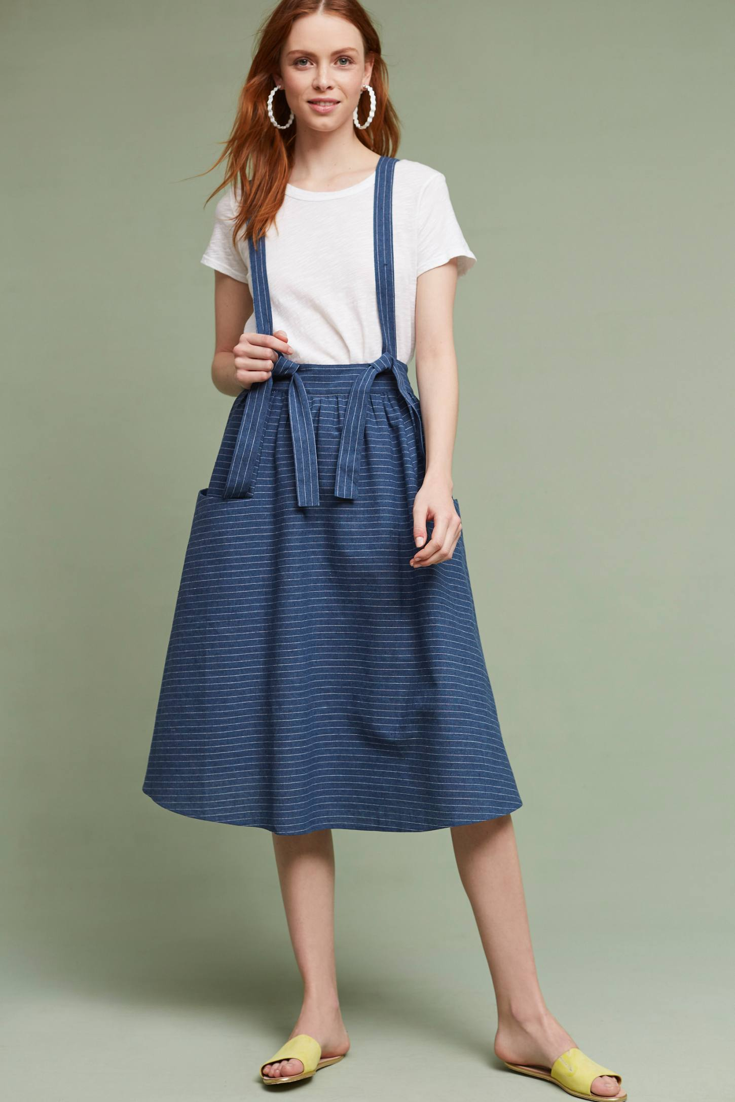 Slide View: 1: Regina Suspender Skirt, Blue