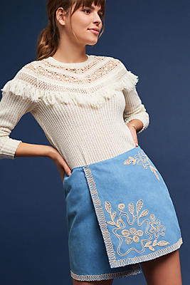 Slide View: 2: Embroidered Chambray Mini Skirt