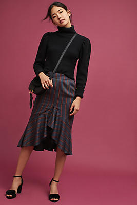 Slide View: 1: Plaid High-Low Skirt